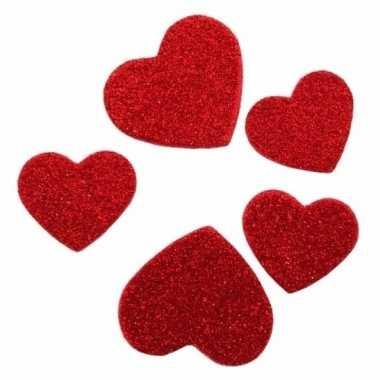 Valentijn glitter hartjes stickertjes 60 stuks kado