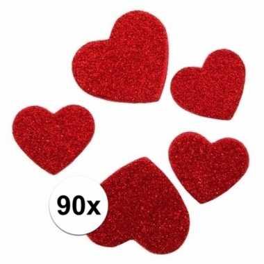 Valentijn glitter hartjes stickertjes 90 stuks kado