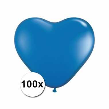 Valentijn hartjes ballonnen blauw 15 cm 100 stuks kado