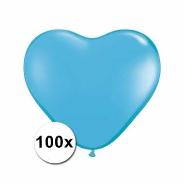 Valentijn hartjes ballonnen lichtblauw 15 cm 100 stuks kado