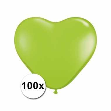 Valentijn hartjes ballonnen lime 15 cm 100 stuks kado