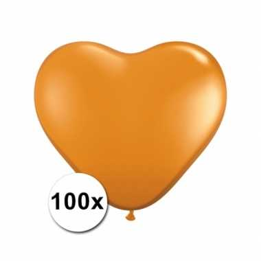 Valentijn hartjes ballonnen oranje 15 cm 100 stuks kado