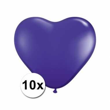 Valentijn hartjes ballonnen paars 10 stuks kado