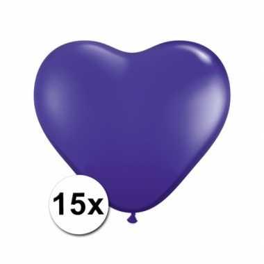 Valentijn hartjes ballonnen paars 15 stuks kado