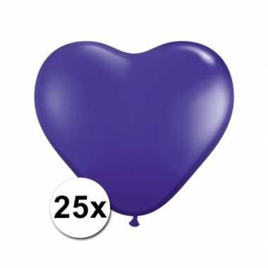 Valentijn hartjes ballonnen paars 25 stuks kado