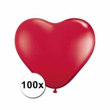 Valentijn hartjes ballonnen rood 15 cm 100 stuks kado