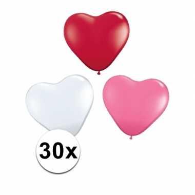 Valentijn hartjes ballonnen rood/ wit/ roze 30 st kado