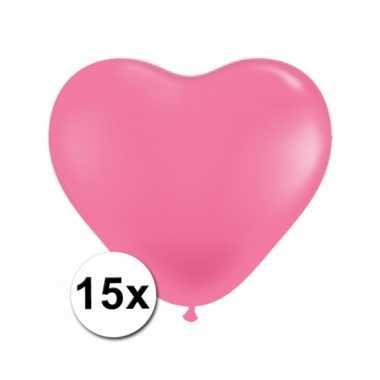 Valentijn hartjes ballonnen roze 15 stuks kado