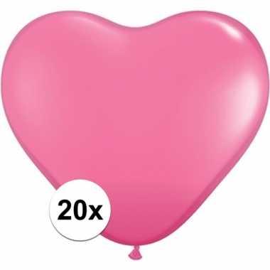 Valentijn hartjes ballonnen roze 20 stuks kado