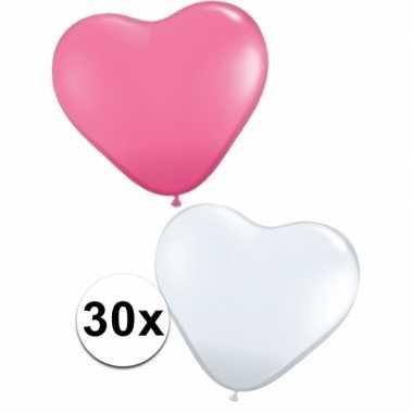 Valentijn hartjes ballonnen roze en wit 30 st kado