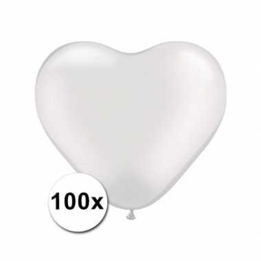 Valentijn hartjes ballonnen transparant 15 cm 100 stuks kado