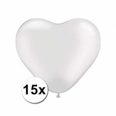 Valentijn hartjes ballonnen wit 15 stuks kado