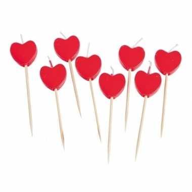 Valentijn hartjes kaarsjes cocktailprikkers 8 stuks kado