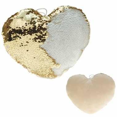 Valentijn hartjes kussen goud/creme metallic met pailletten 30 cm kad
