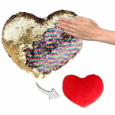 Valentijn hartjes kussen goud/rood metallic met pailletten 30 cm kado