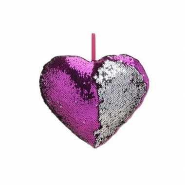 Valentijn hartjes kussen paars metallic met pailletten 30 cm kado