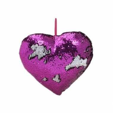 Valentijn hartjes kussen paars metallic met pailletten 35 cm kado