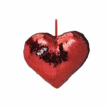 Valentijn hartjes kussen rood metallic met pailletten 30 cm kado