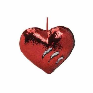 Valentijn hartjes kussen rood metallic met pailletten 35 cm kado