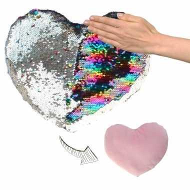 Valentijn hartjes kussen zilver/roze metallic met pailletten 30 cm ka