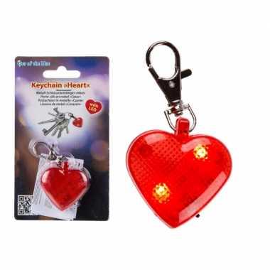 Valentijn hartjes sleutelhanger met verlichting 4 cm kado