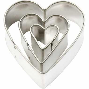 Valentijn hartvormige uitstekers 3 stuks kado