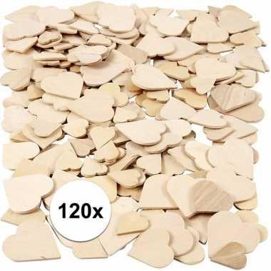 Valentijn houten mozaiek hartjes 120 stuks kado