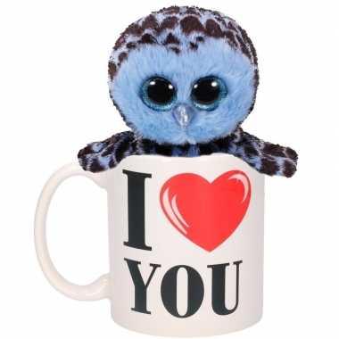 Valentijn i love you mok met blauwe knuffel uil kado