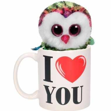 Valentijn i love you mok met gekleurde knuffel uil kado