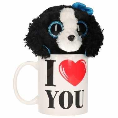 Valentijn i love you mok met knuffel hond kado
