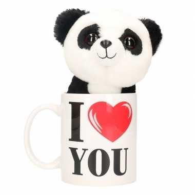Valentijn i love you mok met knuffel panda kado