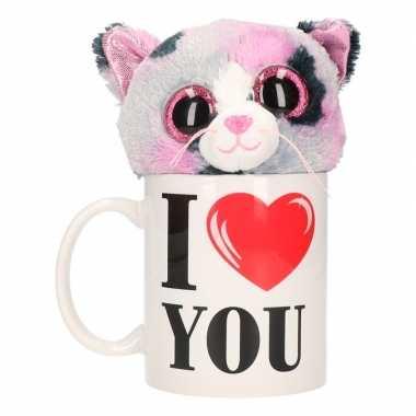 Valentijn i love you mok met knuffel poes/kat gevlekt kado