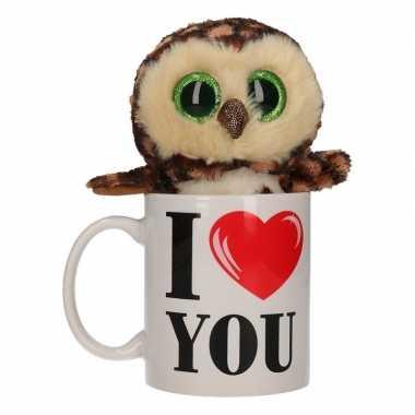 Valentijn i love you mok met knuffel uil kado