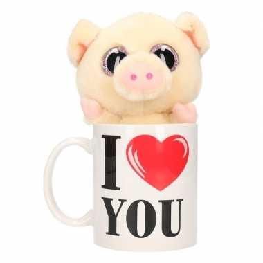 Valentijn i love you mok met knuffel varken/big kado