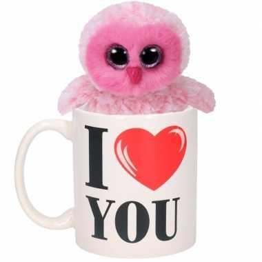Valentijn i love you mok met roze knuffel uil kado