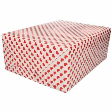 Valentijn inpakpapier/kadopapier rood hart print 200 x 70 cm