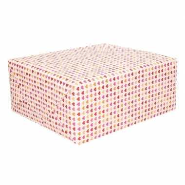 Valentijn inpakpapier met kleine hartjes print 200 x 70 cm op rol kad