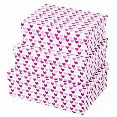 Valentijn kado doosje hartjes paars 20 cm
