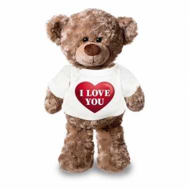 Valentijn knuffel beertje met i love you hartje shirt 24 cm kado