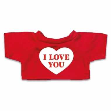 Valentijn knuffel kleding i love you hartje t shirt rood m voor cloth