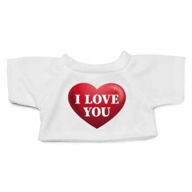 Valentijn knuffel kleding i love you hartje t shirt wit m voor clothi
