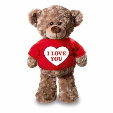 Valentijn knuffel teddybeer met i love you hartje rood shirt 24 cm ka