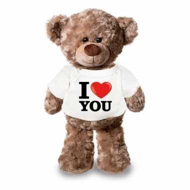 Valentijn knuffel teddybeer met i love you shirt 24 cm kado