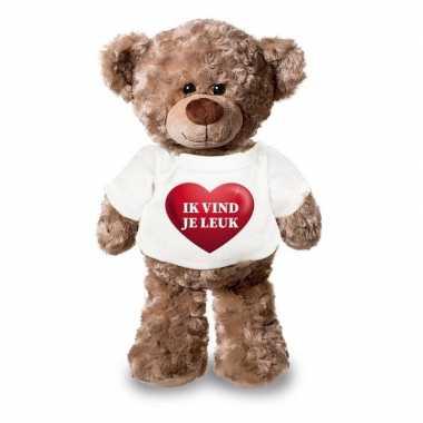 Valentijn knuffel teddybeer met ik vind je leuk hartje shirt 24 cm ka