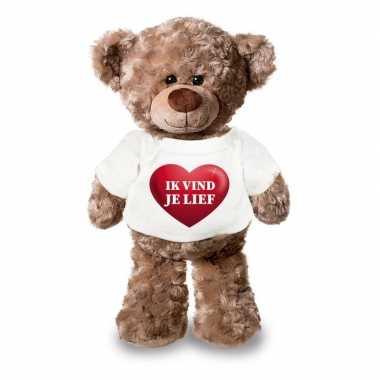 Valentijn knuffel teddybeer met ik vind je lief hartje shirt 24 cm ka