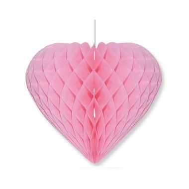 Valentijn lichtroze decoratie hart 15 cm kado