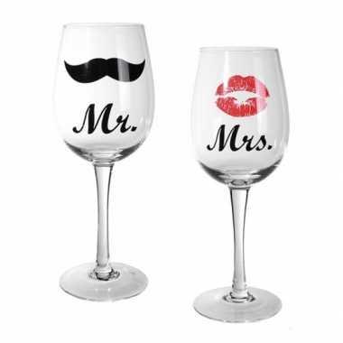 Valentijn mr & mrs wijnglazen 22,5 cm kado