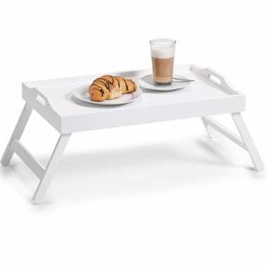 Valentijn ontbijt op bed dienblad/serveerblad wit op poten mdf hout 56 x 36 cm kado