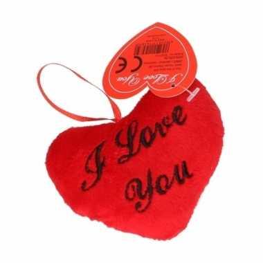 Valentijn pluche i love you kussentje 10 cm kado