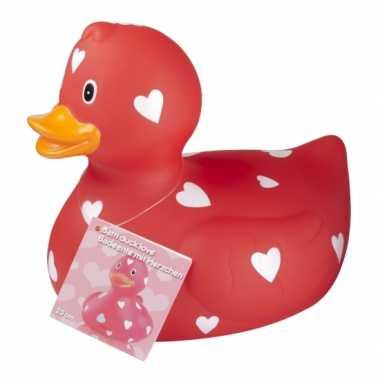 Valentijn rode badeend met hartjes 25 cm kado